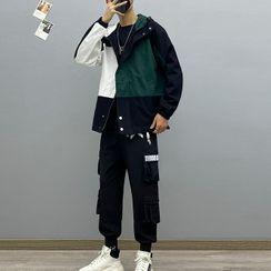Avilion(アヴィリオン) - Color Block Hood Jacket / Straight Leg Cargo Pants / Long-Sleeve T-Shirt
