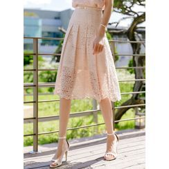Styleonme - Pleated Midi Lace Skirt