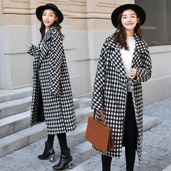Sienne - Houndstooth Open-Front Long Coat