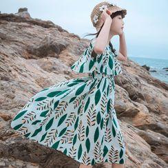 Youtale - Kids Short-Sleeve Leaf Print Midi A-Line Dress