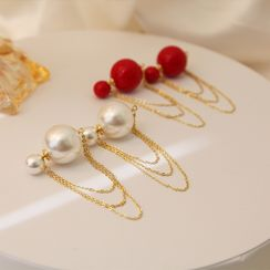 Infini - Bead / Faux Pearl Chained Earring