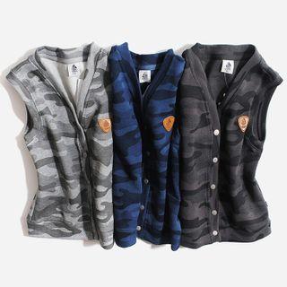 Happy Go Lucky - Kids Camo Button Vest