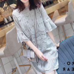 Jizoo - Eyelet Lace Flared-Sleeve Mini Shift Dress