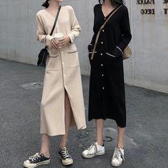 Apotheosis - Long Sleeve V-Neck Button-Up Knit Dress
