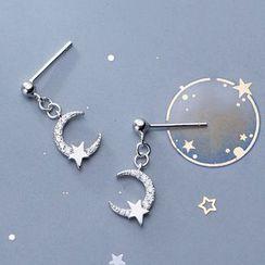 A'ROCH(エーロック) - Rhinestone Moon Star Drop 925 Sterling Silver Earring