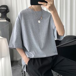JUN.LEE - Elbow-Sleeve Plain T-Shirt