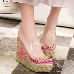 Megan - Flower Wedge Platform Slide Sandals