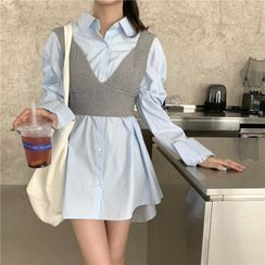 Anlay - Plain Long-Sleeve Shirtdress / Knit Vest