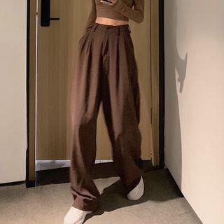 Rorah - Plain High-Waist Wide-Leg Pants