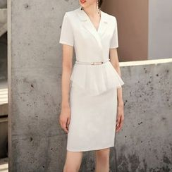 Munchin - Short-Sleeve V-Neck  Peplum Dress