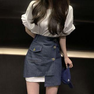 IMMY - Set: Short-Sleeve T-Shirt Dress + Denim A-Line Skirt