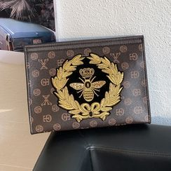 BagBuzz - Bee Embroidered Faux Leather Clutch
