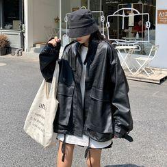 JIUHOJI - Faux Leather Zip Jacket