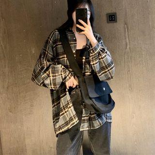 IndiGirl - Long Sleeve Plaid Button-Up Shirt