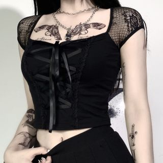Thetis - Cap-Sleeve / Long-Sleeve Lace-Up Crop Top