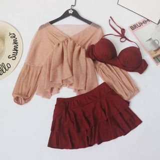 ASUMM - 套装: 挂脖比基尼泳衣上衣 + 泳裙 + 罩衫