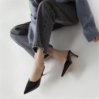 MONOBARBI - Pointy-Toe Croc-Grain Stiletto Mules