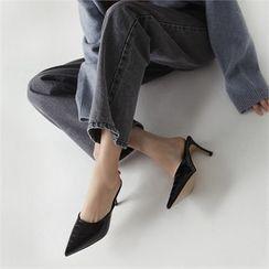 MONOBARBI - Pointy-Toe Croc-Grain Stiletto Mules