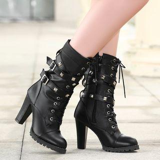 Megan - Faux Leather Block Heel Mid-Calf Combat Boots