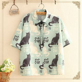 Kawaii Fairyland - Tie-Neck Cat Print Short-Sleeve Shirt