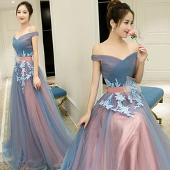Sennyo - Off-Shoulder Flower Applique Evening Gown