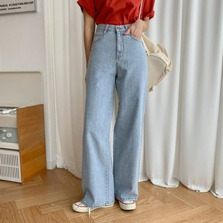 MERONGSHOP - Washed Wide-Leg Jeans