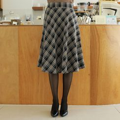 CLICK - Zip-Side Flared Midi Plaid Skirt