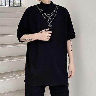 Citigleam - Mock-Neck Short-Sleeve T-Shirt