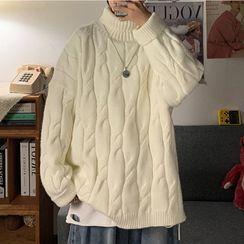 Newise - Chunky Knit Mock-Neck Sweater