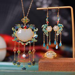 Kanzashi - Phoenix Gemstone Fringed Earring / Pendant Necklace / Ring