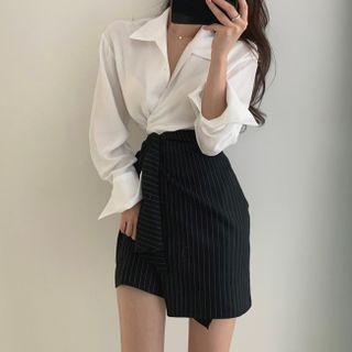 Leoom - Long-Sleeve Tie-Hem Blouse / Asymmetric Pinstriped Mini Wrap Skirt