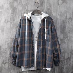 JUGAR - Mock Two-Piece Button-Up Hooded Jacket