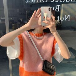 Mukuki - Two-Tone Cropped Sweater Vest