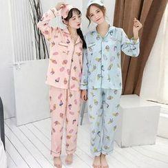 Ashlee - Pajama Set: Ice Cream Print Long-Sleeve Top + Pants + Eye Mask
