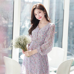 MyFiona - V-Neck Floral Chiffon Dress