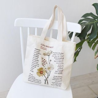 Ms Bean - Flower-Themed Printed Canvas Tote Bag