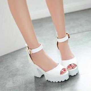 JY Shoes - Ankle Strap Platform Heeled Sandals