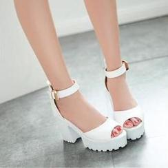 JY Shoes - Sandalias de plataforma atadas al tobillo