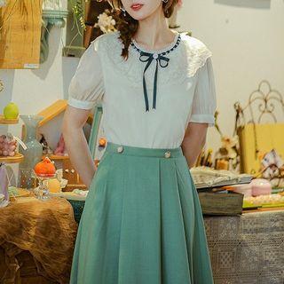 Rosian - Short-Sleeve Lace Trim Bow Blouse