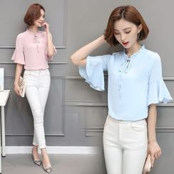 In the Mood - Bell-Sleeve Chiffon Blouse