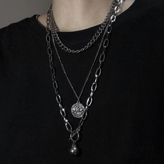 Banash - Alloy Coin Pendant Layered Necklace