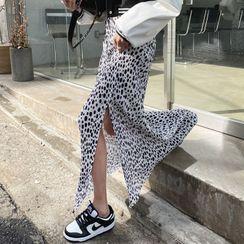 DEEPNY - Deep-Slit Crystal-Pleat Maxi Dotted Skirt