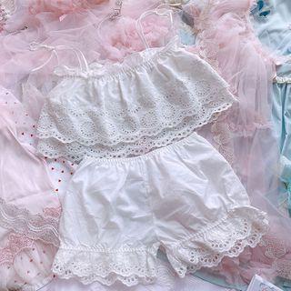 Prinsis - Pajama Set: Eyelet Lace Camisole + Shorts