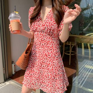 Leoom - Floral Print Short-Sleeve A-Line Chiffon Dress