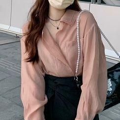 monroll - Layered Collar Shirt / Asymmetrical Mini Skirt