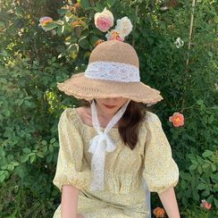 Dante Rose - Lace Lace-Up Straw Cap