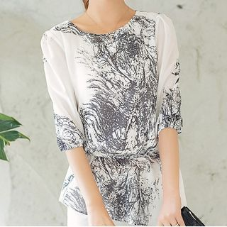 In the Mood - Patterned 3/4-Sleeve Blouse