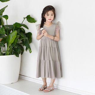 Cuckoo - Kids Mesh Panel Sleeveless Midi Babydoll Dress