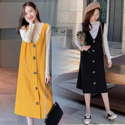 Mammi - Maternity Set: Long-Sleeve Knit Top / Buttoned Midi A-Line Pinafore Dress