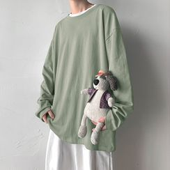 JUN.LEE(ジュンリー) - Round Neck Plain Oversized Long-Sleeve Top